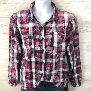 *3/$20* Vanilla Star Tie Dye Acid Wash Plaid Shirt